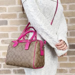 Coach mini Bennett Signature satchel pink